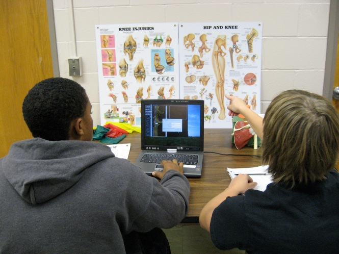 students learning science
